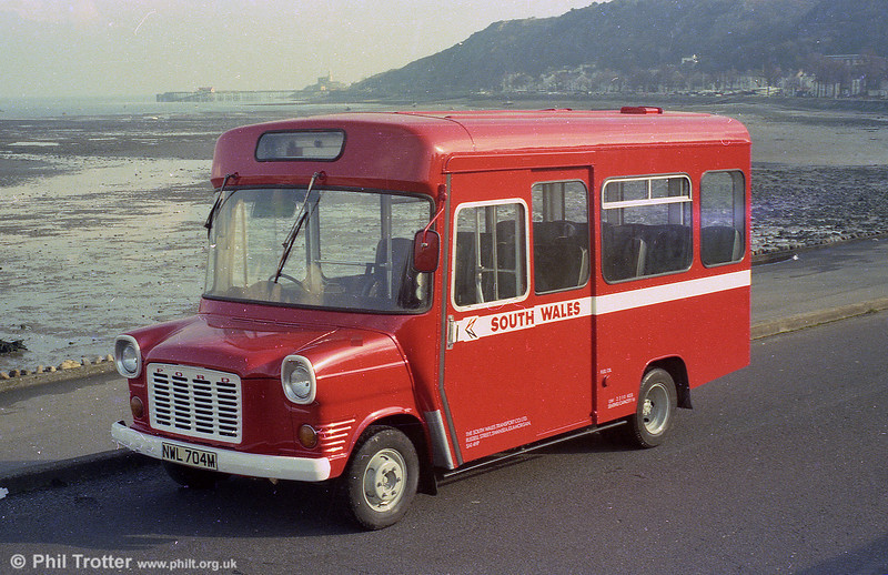 98 (NWL 704M), a 1973 Ford Transit/Strachan B16F obtained for 'Gower Pony' services in 1977. The vehicle was new to City of Oxford (704).