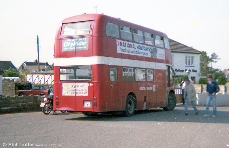 AEC Regent Vs/Willowbrook H37/27F 886 (GWN 864D) at Pennard terminus.
