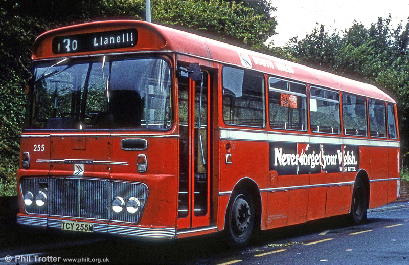Seen at Carmarthen is Ford R1014/Willowbrook B45F 255 (TCY 255M).