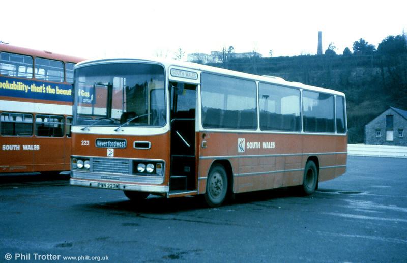 1973 Bedford YRQ/Willowbrook DP45F 223 (PWN 223M) at Haverfordwest.
