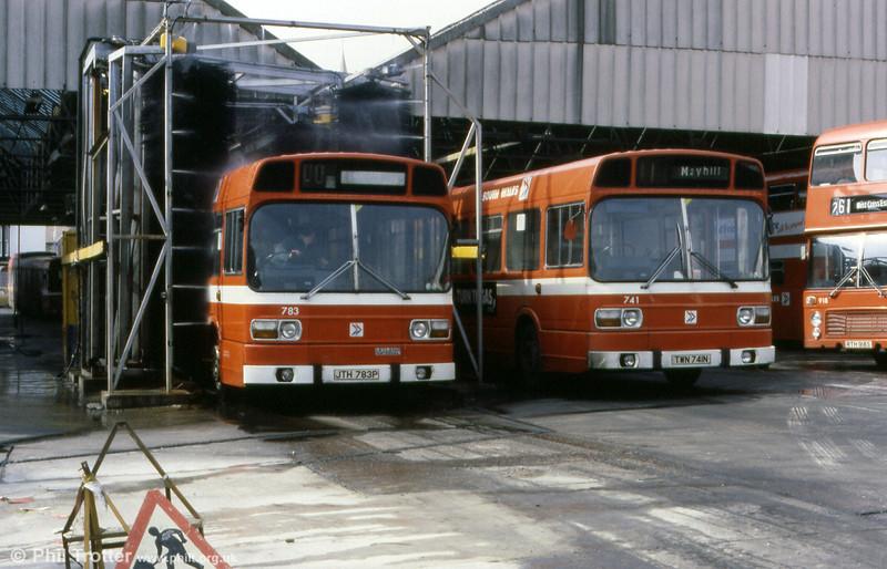 Leyland National B52F 783 (JTH 783P) is washed at Brunswick Street.