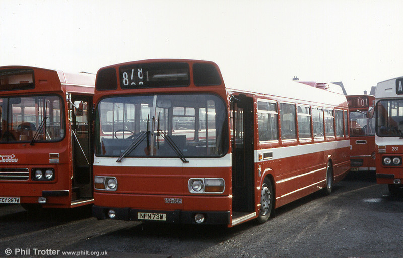 Former East Kent (1073) Leyland National B52F 825 (NFN 73M) before entry into service with SWT.