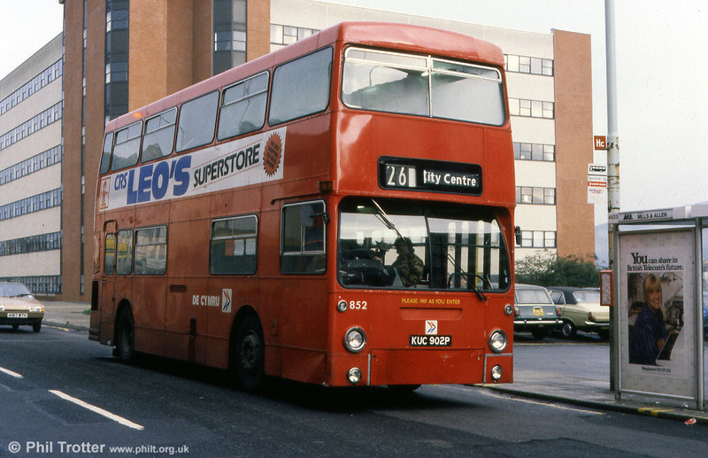 Daimler Fleetline/MCW H44/32F 852 (KUC 902P) ex-DMS1902 acquired in 1982. The bus passed to Wilts & Dorset in 1987.