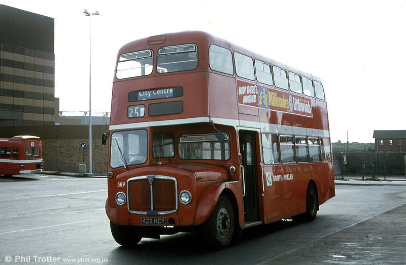 589 (422 HCY) a 1964 AEC Regent V/Weymann H39/32F at Swansea.