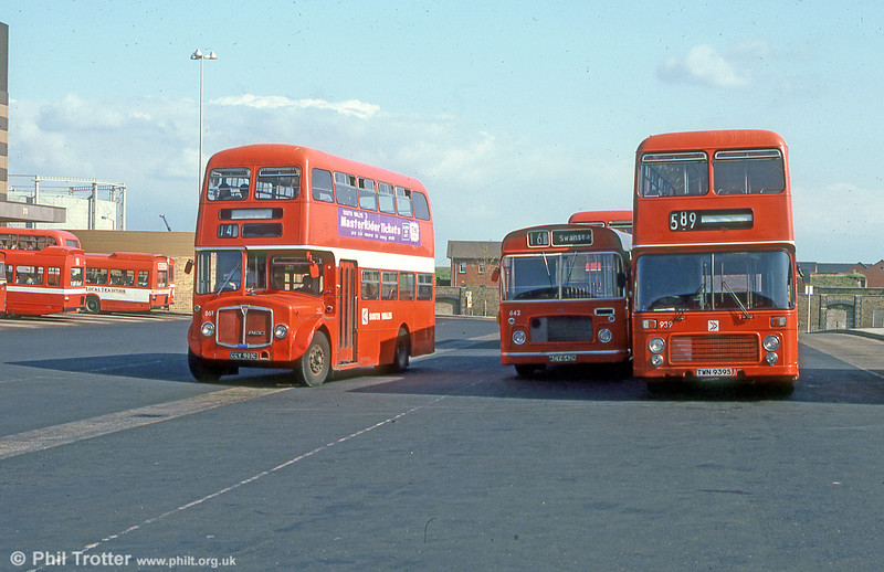 AEC Regent V/Willowbrook H37/27F 861 (CCY 981C) with Bristol RELL6G642 and VRT 939 at Swansea in June 1981.