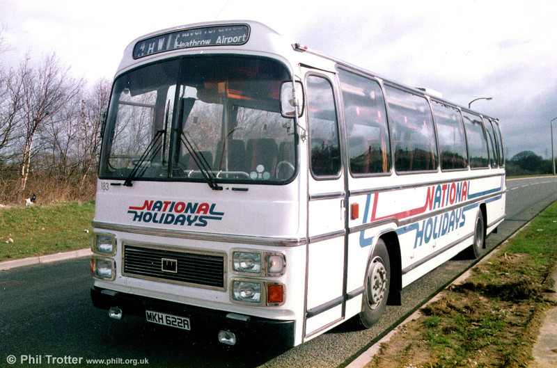183 (MKH 622A), a Leyland Leopard/Plaxton C47F, acquired from Midland Red as JOX 441P in 1976.