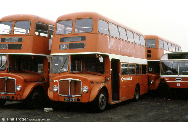 AEC Regent V/Willowbrook H37/27F 893 (GWN 871E) in store at Neath.