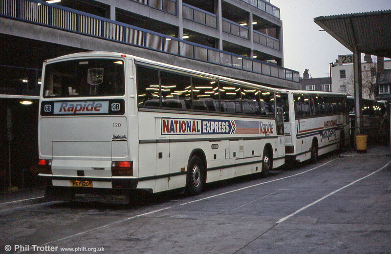 A rear view of SWT 120 (RCY 120Y), a 1983 Leyland Tiger/Duple Caribbean C46FT at Victoria Coach Station in March 1984.