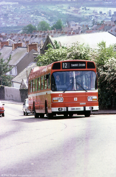 Leyland National B52F 815 (AWN 815V) on Townhill in 1981.