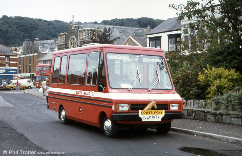 The other Bedford CF/Reebur DP17F was 97 (CEP 197V) seen here at Oystermouth complete with headboard.
