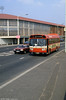 Leyland National B52F 743 (TWN 743N) passes the old St. Helens Rugby/Cricket Ground.