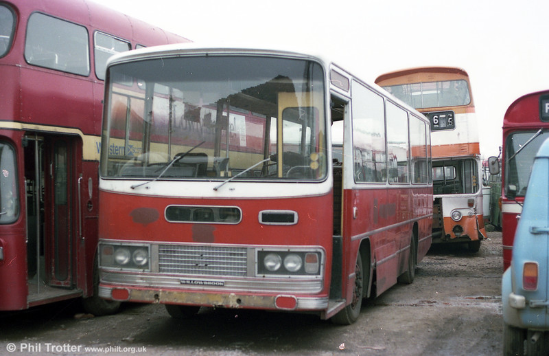 1974 Bedford YRQ/Willowbrook DP45F 227 (PWN 227M) seen with Berresfords, Cheddleton.