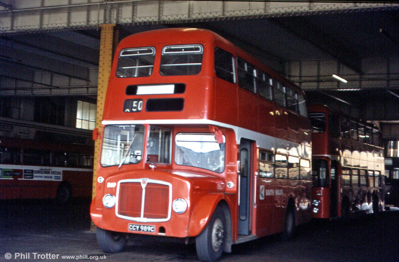 Another view of AEC Regent V/Willowbrook H37/27F 869 (CCY 989C) parked up in the old Singleton Street bus station. A vehicle standing in this position nowadays would be parked in the ticket office of the Grand Theatre!