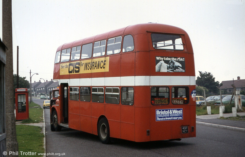 854 (437 HCY), a 1964 AEC Regent V 2D3RA/Willowbrook H39/32F is towed away from Ravenhill for scrap. RIP.
