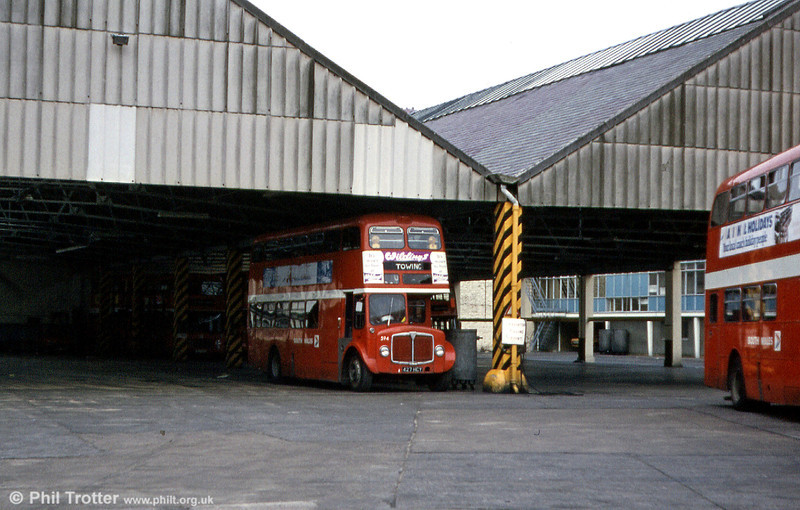 1964 AEC Regent V/Weymann H39/32F 594 (427 HCY) in use as a towing vehicle at Swansea.