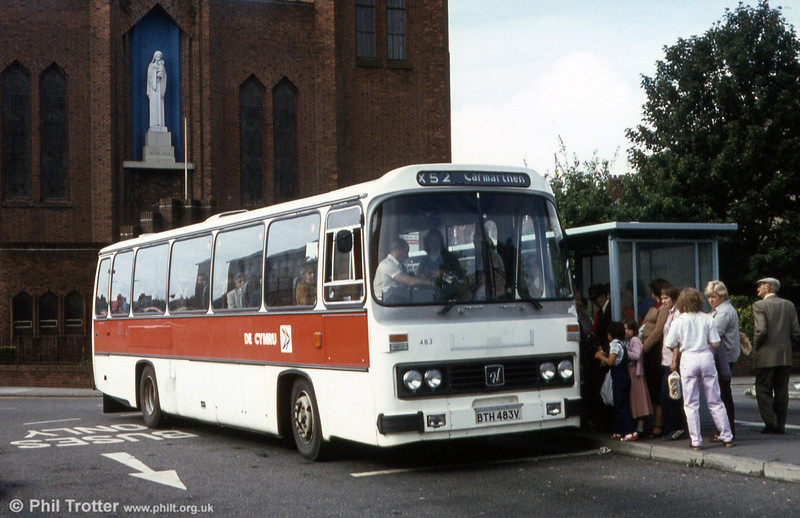 Leyland Leopard/Willowbrook C51F 483 (BTH 483V) at Llanelli. 483 later became 175.