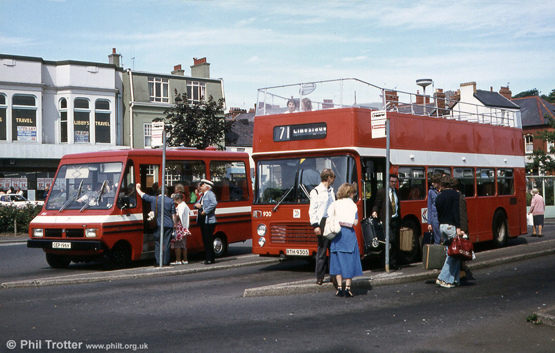 Bristol VRT SL3/ECW CO43/31F 930 (RTH 930S) in open top form at Oystermouth alongside Bedford CF/Reebur DP17F.