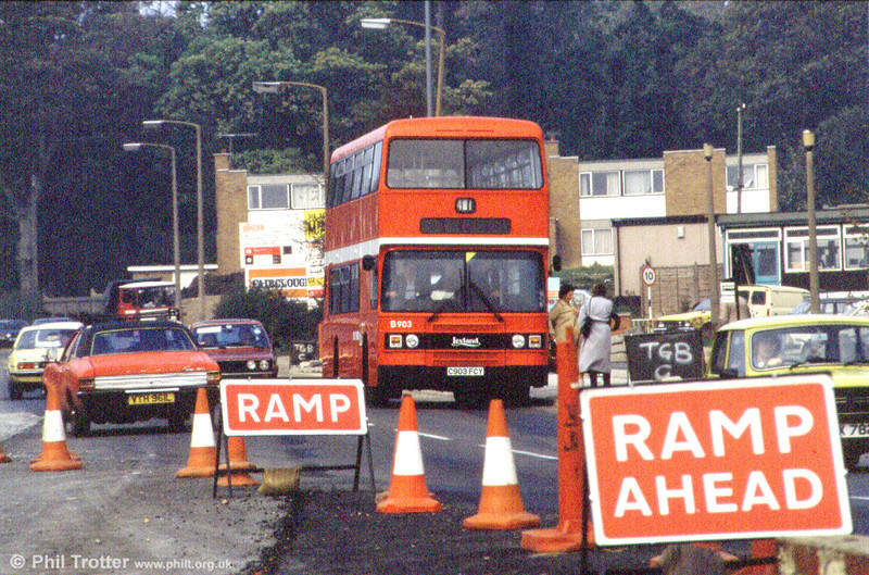1985 Leyland Olympian/ECW H45/30F 903 (C903 FCY) seen amidst roadwoorks in Sketty Lane.