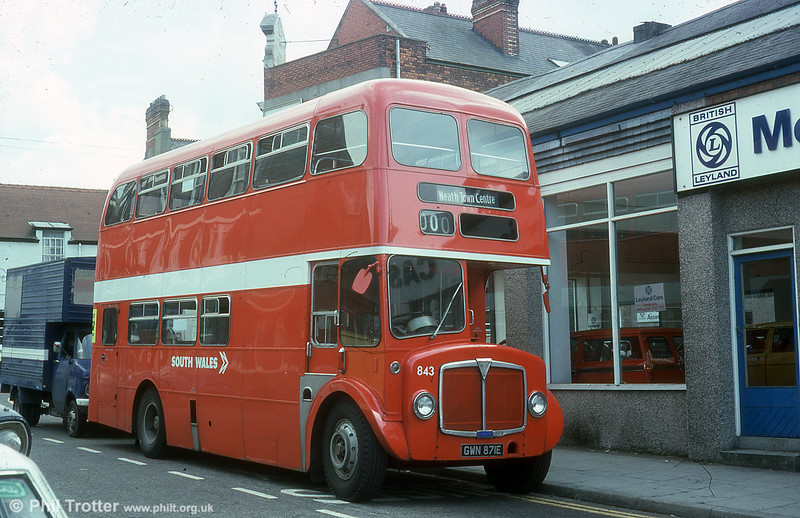 AEC Regent V/Willowbrook H37/27F 843 (GWN 871E)  at Neath in June 1976.