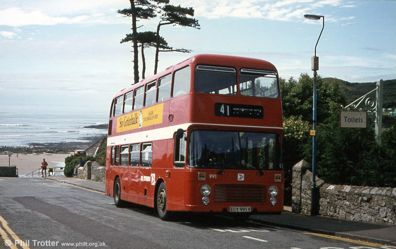 Bristol VRT SL3/ECW H43/31F 991 (ECY 991V) at Langland Bay.