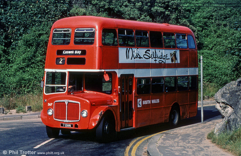 AEC Regent V/Willowbrook H39/32F 567 (7 BWN) at Caswell.