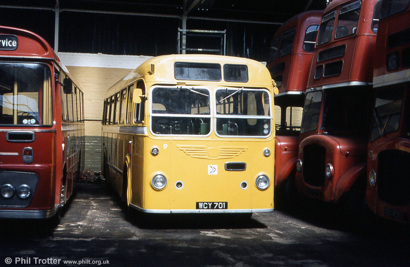 WCY 701 was a Bristol MW6G/ECW B45F staff bus at SWT's Gorseinon depot. The bus was new to United Welsh in 1960 as that company's no.122 and was subsequently renumbered 380 by SWT.