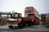 854 (437 HCY), a 1964 AEC Regent V 2D3RA/Willowbrook H39/32F is towed away from Ravenhill. At least the tow truck is an AEC!