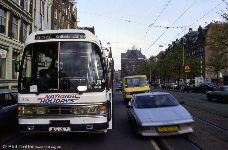 SWT 196 (JDG 287V), a 1980 Leyland Leopard/Duple C50F seen on tour in Amsterdam.