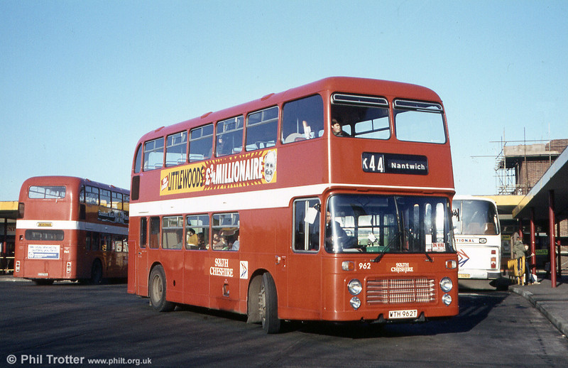 Bristol VRT SL3/ECW H43/31F 962 (WTH 962T) at Crewe Bus Station while on hire to Crosville.