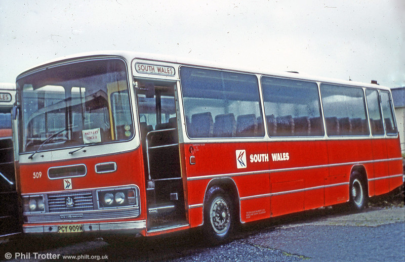 509 (PCY 909M) was a 1973 Bedford YRT/Willowbrook DP51F. The destination card in the windscreen reads; 'Mystery Coach II'. Indeed.