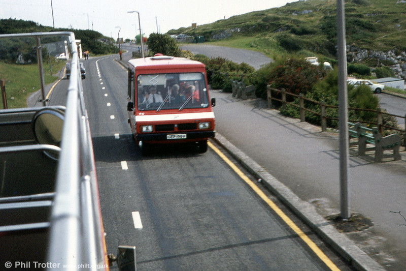 96 (CEP 196V), one of a pair of Bedford CF/Reebur DP17F for use on Gower Pony services and seen here at Bracelet Bay.