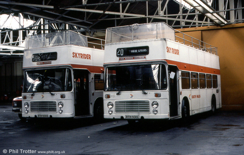 Bristol VRT SL3/ECW CO43/31F 930/1 (RTH 930/1S) named 'Dylan Thomas' and 'Sir Harry Secombe' respectively.
