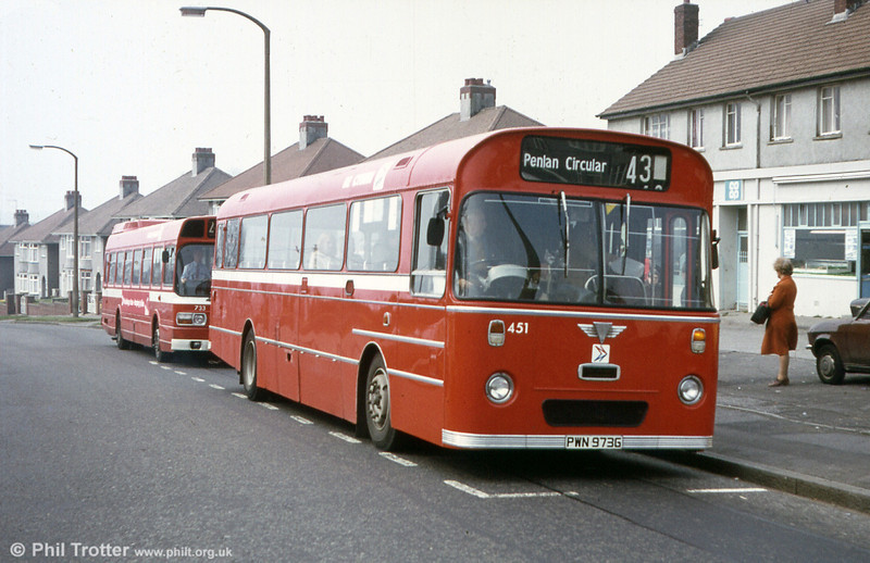451 (PWN 973G) was a 1969 AEC Reliance 6MU2R with a Marshall B52F body. The styling (apart from the rebuilt front end) was similar to the later Swifts which were transferred to London Country to form the SMW class.