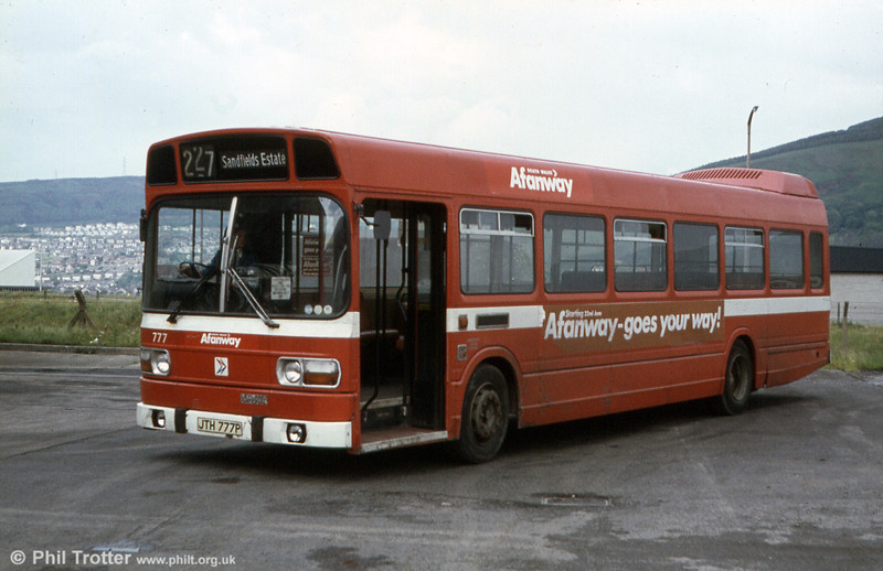 A nearside view of Leyland National B52F 777 (JTH 777P) with Afanway (Port Talbot) branding.