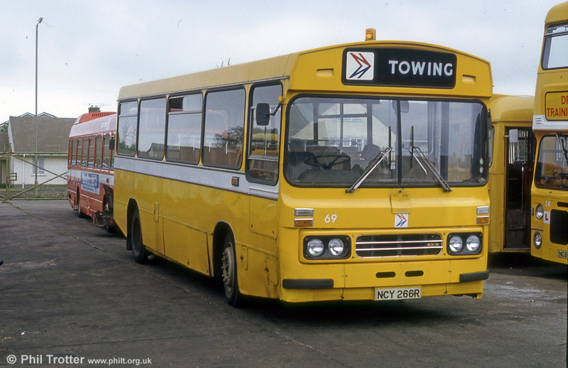 Ford R1014/Duple B43F 266 (NCY 266R) in its later years, converted for towing, at  Ravenhill.