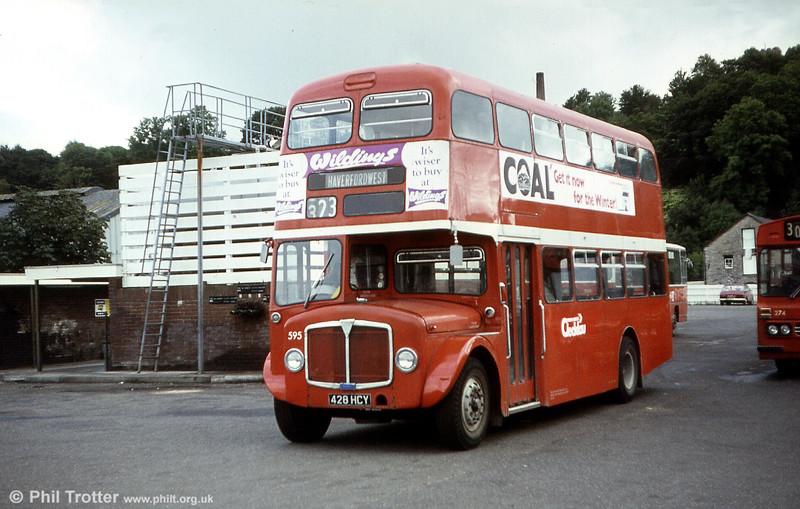 1964 AEC Regent V/Weymann H39/32F 595 (428 HCY) at Haverfordwest.