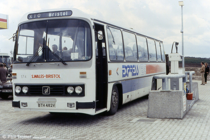Leyland Leopard/Willowbrook C51F 174 (BTH 482V) during the opening ceremony for the Bridgend section of the M4.