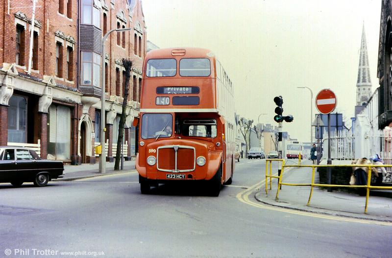 1964 AEC Regent V/Weymann H39/32F 590 (423 HCY) seen in Llanelli.