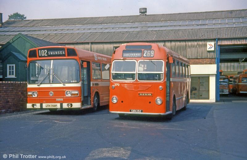 370 (SWN 152), a 1959 Bristol MW6G/ECW B45F at Gorseinon depot.