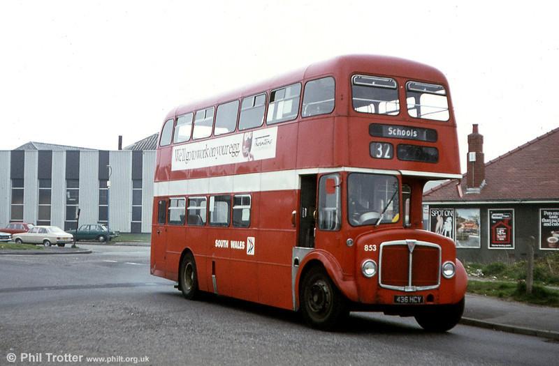 1964 AEC Regent V 2D3RA/Willowbrook H39/32F 853 (436 HCY) at Caereithin.
