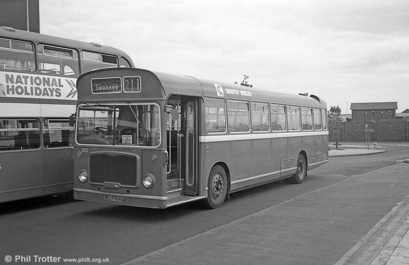Bristol RELL6G/ECW B53F 613 (LWN 692F) at Swansea - it had been noted being repainted in January 1980.