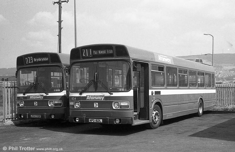 Leyland National B52F 834 (NPD 162L), ex-London Country LNB62 at Port Talbot.
