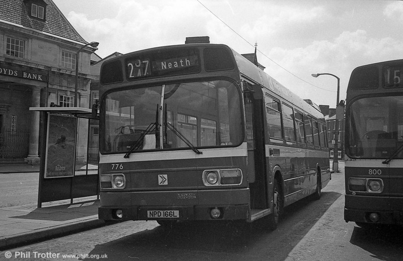 Leyland National/B52F 776 (NPD 166L) at Neath. This was formerly London Country LNB66 and filled a gap left by JTH 776P which had been written off.