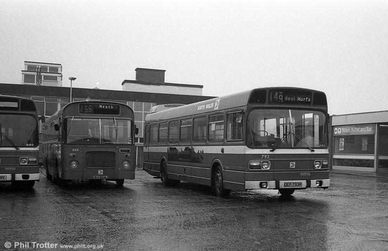 Leyland National B52F 793 (OEP 793R) at Neath.