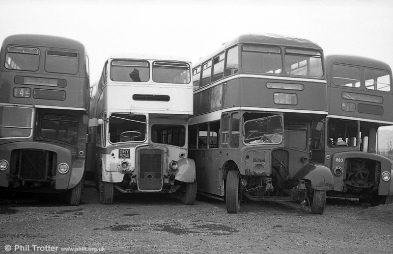 Ex-Bristol KSWs OHY 934 and WHW 816 on the scrap line at Port Talbot. These were purchased in 1975 and 1977 respectively to provide spares for 500 (WNO 484). Other withdrawn vehicles stored at Port Talbot at this time were  AEC Reliances 422/4 (DNY 132/4C), 427 (CTX 137F); Tiger Cub 340 (HBO 994D); Bristol MW 387 (135 ACY); Bristol FLF 969 (274 DCY); AEC Regent 880 (GWN 858D).