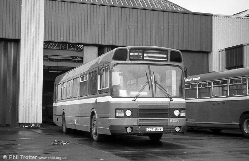 Leyland National 2/B52F 817 (CCY 817V) seen shortly after delivery at Ravenhill.