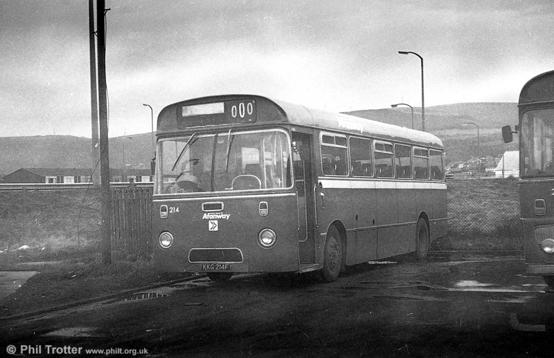 AEC Reliance/Marshall DP41F 214 (KKG 214F), ex-Western Welsh, in bus livery at Port Talbot.