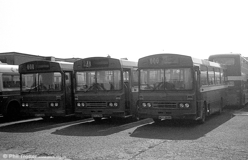 Withdrawn Ford R1014/Duple B43F 269/76/68 (NCY 269/76/68R) at Ravenhill.