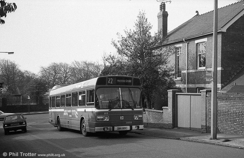 Leyland National/B52F 815 (AWN 815V) at Sketty. 815 was the last of the Mk1 LNs purchased new.
