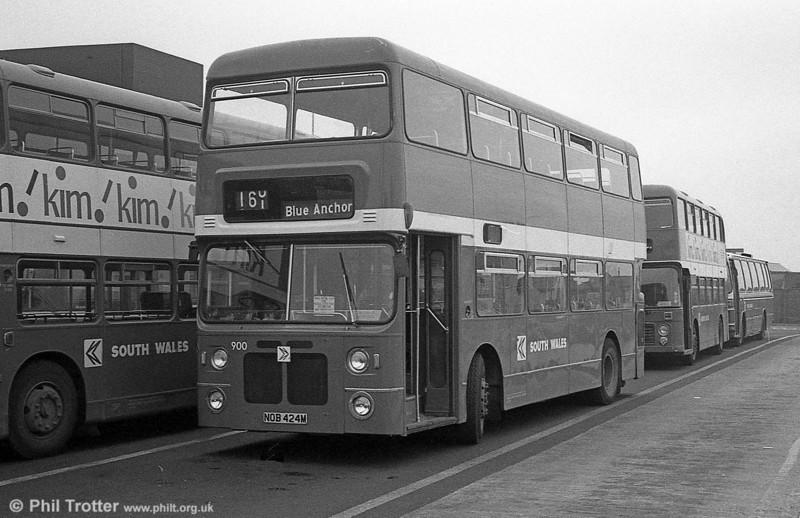 900 (NOB 424M), a Bristol VRT/MCW  H43/31F, ex-West Midlands PTE 4424 at Swansea.